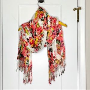 Pink yellow white floral tassel scarf